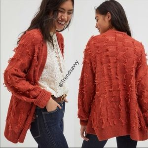 NWT ANTHROPOLOGIE Maeve Janis Fringed Long Sleeve Cardigan Sweater Top Size XS/S